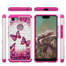 Rose Butterfly Studded Rhinestone Bling Diamond Shock Absorbing Hybrid Defender Rugged Phone Case Cover for Google Pixel 3 XL