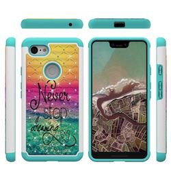 Colorful Dream Catcher Studded Rhinestone Bling Diamond Shock Absorbing Hybrid Defender Rugged Phone Case Cover for Google Pixel 3 XL