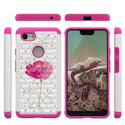 Watercolor Studded Rhinestone Bling Diamond Shock Absorbing Hybrid Defender Rugged Phone Case Cover for Google Pixel 3 XL