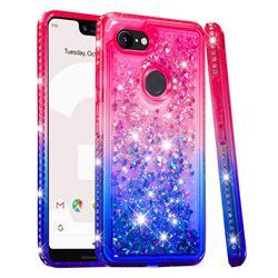 Diamond Frame Liquid Glitter Quicksand Sequins Phone Case for Google Pixel 3 XL - Pink Blue