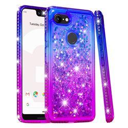 Diamond Frame Liquid Glitter Quicksand Sequins Phone Case for Google Pixel 3 XL - Blue Purple