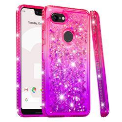 Diamond Frame Liquid Glitter Quicksand Sequins Phone Case for Google Pixel 3 XL - Pink Purple
