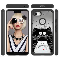 Black and White Cat Shock Absorbing Hybrid Defender Rugged Phone Case Cover for Google Pixel 3 XL