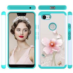 Pearl Flower Shock Absorbing Hybrid Defender Rugged Phone Case Cover for Google Pixel 3 XL