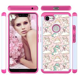 Pink Pony Shock Absorbing Hybrid Defender Rugged Phone Case Cover for Google Pixel 3 XL