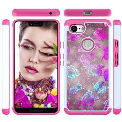 peony Flower Shock Absorbing Hybrid Defender Rugged Phone Case Cover for Google Pixel 3 XL