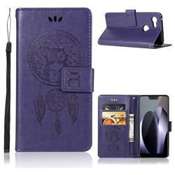 Intricate Embossing Owl Campanula Leather Wallet Case for Google Pixel 3 XL - Purple