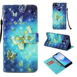 Gold Butterfly 3D Painted Leather Wallet Case for Google Pixel 3 XL