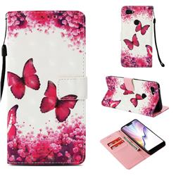 Rose Butterfly 3D Painted Leather Wallet Case for Google Pixel 3 XL