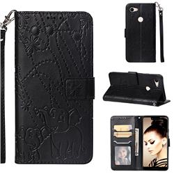 Embossing Fireworks Elephant Leather Wallet Case for Google Pixel 3 XL - Black