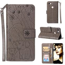 Embossing Fireworks Elephant Leather Wallet Case for Google Pixel 3 XL - Gray