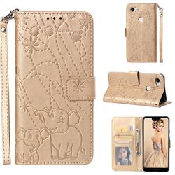 Embossing Fireworks Elephant Leather Wallet Case for Google Pixel 3 XL - Golden