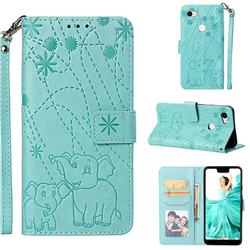 Embossing Fireworks Elephant Leather Wallet Case for Google Pixel 3 XL - Green