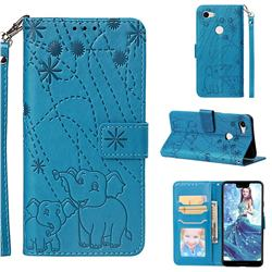 Embossing Fireworks Elephant Leather Wallet Case for Google Pixel 3 XL - Blue