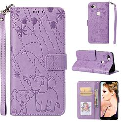 Embossing Fireworks Elephant Leather Wallet Case for Google Pixel 3 XL - Purple