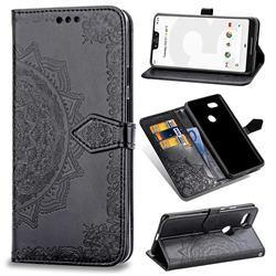 Embossing Imprint Mandala Flower Leather Wallet Case for Google Pixel 3 XL - Black