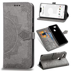 Embossing Imprint Mandala Flower Leather Wallet Case for Google Pixel 3 XL - Gray