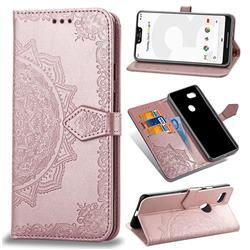 Embossing Imprint Mandala Flower Leather Wallet Case for Google Pixel 3 XL - Rose Gold