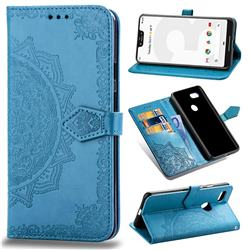 Embossing Imprint Mandala Flower Leather Wallet Case for Google Pixel 3 XL - Blue