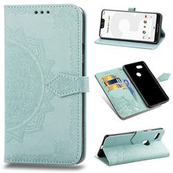 Embossing Imprint Mandala Flower Leather Wallet Case for Google Pixel 3 XL - Green