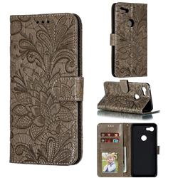 Intricate Embossing Lace Jasmine Flower Leather Wallet Case for Google Pixel 3 XL - Gray
