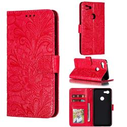 Intricate Embossing Lace Jasmine Flower Leather Wallet Case for Google Pixel 3 XL - Red