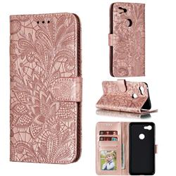 Intricate Embossing Lace Jasmine Flower Leather Wallet Case for Google Pixel 3 XL - Rose Gold