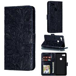 Intricate Embossing Lace Jasmine Flower Leather Wallet Case for Google Pixel 3 XL - Dark Blue