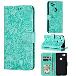 Intricate Embossing Lace Jasmine Flower Leather Wallet Case for Google Pixel 3 XL - Green