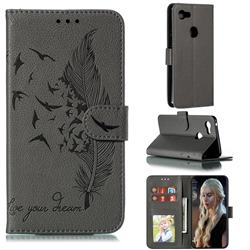 Intricate Embossing Lychee Feather Bird Leather Wallet Case for Google Pixel 3 XL - Gray