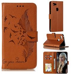 Intricate Embossing Lychee Feather Bird Leather Wallet Case for Google Pixel 3 XL - Brown