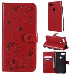 Embossing Bee and Cat Leather Wallet Case for Google Pixel 3 XL - Red