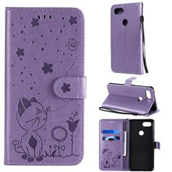 Embossing Bee and Cat Leather Wallet Case for Google Pixel 3 XL - Purple