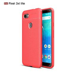 Luxury Auto Focus Litchi Texture Silicone TPU Back Cover for Google Pixel 3 XL Lite - Red