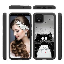 Black and White Cat Shock Absorbing Hybrid Defender Rugged Phone Case Cover for Google Pixel 4