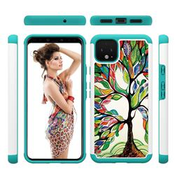 Multicolored Tree Shock Absorbing Hybrid Defender Rugged Phone Case Cover for Google Pixel 4