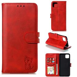Embossing Happy Cat Leather Wallet Case for Google Pixel 4 - Red