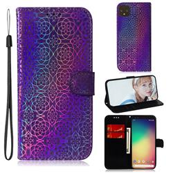 Laser Circle Shining Leather Wallet Phone Case for Google Pixel 4 - Purple