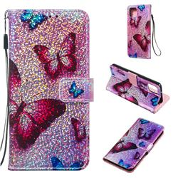Blue Butterfly Sequins Painted Leather Wallet Case for Google Pixel 4