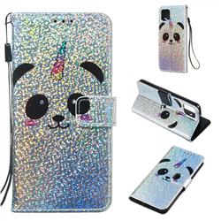 Panda Unicorn Sequins Painted Leather Wallet Case for Google Pixel 4
