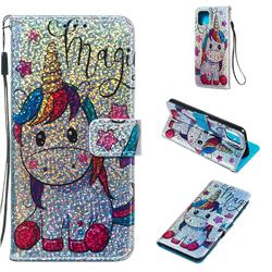 Star Unicorn Sequins Painted Leather Wallet Case for Google Pixel 4