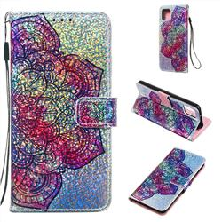 Glutinous Flower Sequins Painted Leather Wallet Case for Google Pixel 4