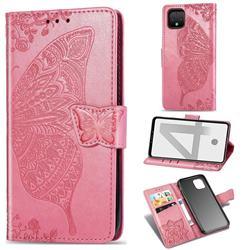 Embossing Mandala Flower Butterfly Leather Wallet Case for Google Pixel 4 - Pink
