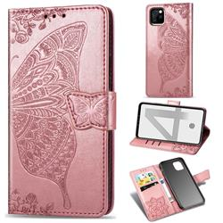 Embossing Mandala Flower Butterfly Leather Wallet Case for Google Pixel 4 - Rose Gold