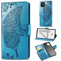 Embossing Mandala Flower Butterfly Leather Wallet Case for Google Pixel 4 - Blue