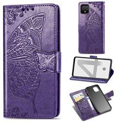 Embossing Mandala Flower Butterfly Leather Wallet Case for Google Pixel 4 - Dark Purple
