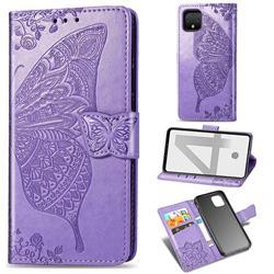 Embossing Mandala Flower Butterfly Leather Wallet Case for Google Pixel 4 - Light Purple