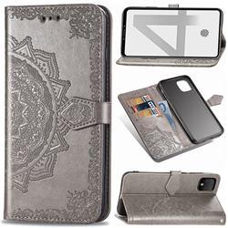 Embossing Imprint Mandala Flower Leather Wallet Case for Google Pixel 4 - Gray