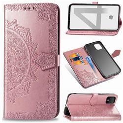 Embossing Imprint Mandala Flower Leather Wallet Case for Google Pixel 4 - Rose Gold