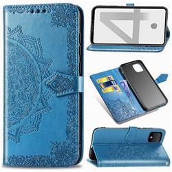 Embossing Imprint Mandala Flower Leather Wallet Case for Google Pixel 4 - Blue
